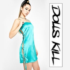 Dolls Kill Aqua Club Twilight Mini Dress Blue Sz S